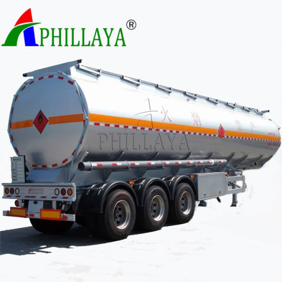 3 Axles 42000 Liters Liquid Fuel Storage Transport Truck Semi Trailer Stainless Steel Tank