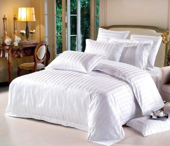Wholesale 5-Star Luxury 100% Cotton Fabric Satin Stripe Hotel Bedding Bed Linen