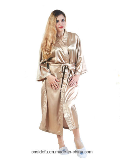 China Wholesale Custom Dressing Gown Satin Silk Kimono Robe Bathrobe ...