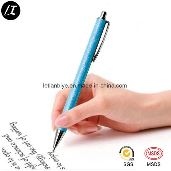 China Custom Logo Metal Click Ballpen Pink Glitter Pen for Women (LT ... 76df822253
