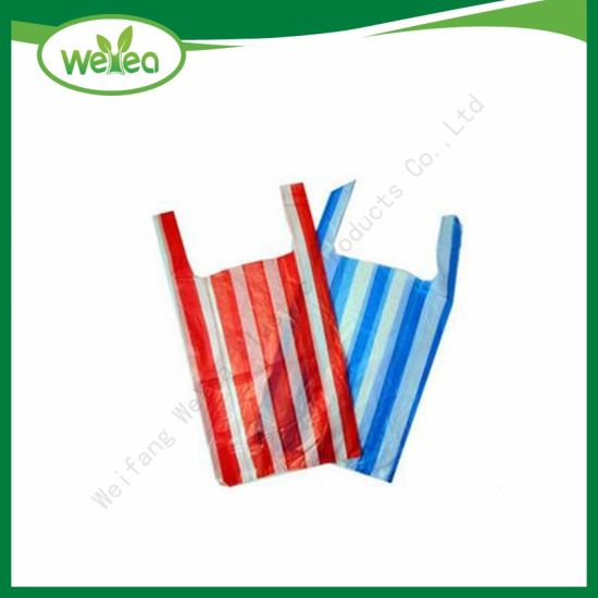 Raw Material HDPE LDPE Candy Stripe Plastic Shopping Bags with Competitive Price pictures & photos