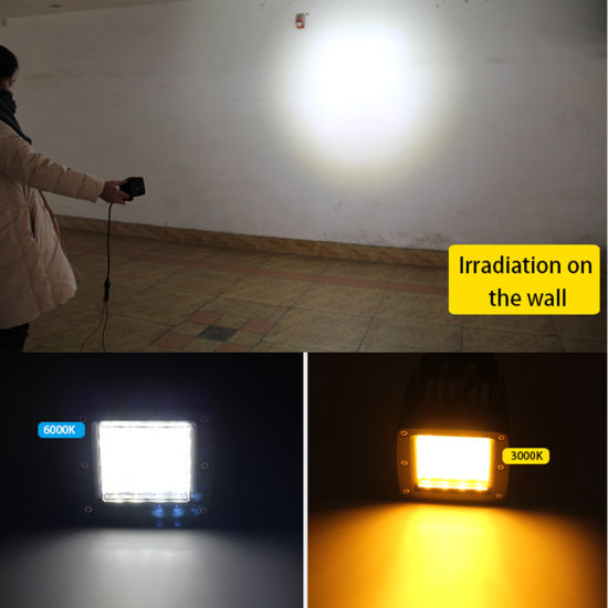Two Color Strobe Flash Square 12D Reflector IP68 Waterproof Spot Flood Beam  72W 3inch LED Portable Work Lights
