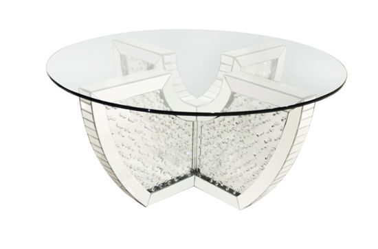 Modern New Style Unique Mdf Crystal Round Mirrored Coffee Table