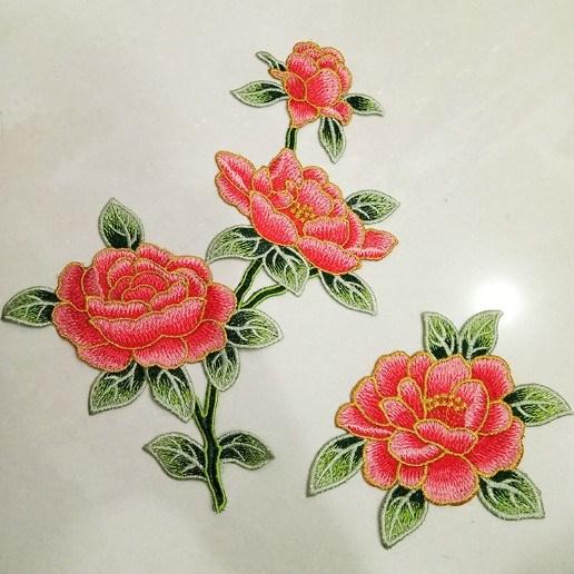 Wholesale China Beautiful Iron on Backing Flower Embroidery Patch