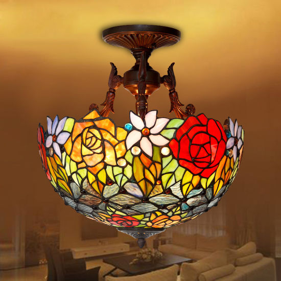 Handmade Tiffany Chandelier Hotel Lamp for Interior Decoration with Stained Glass