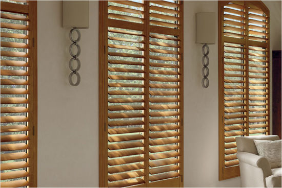 Cheap Indoor Wooden Plantation Shutters Inside Kitchen Window Covering