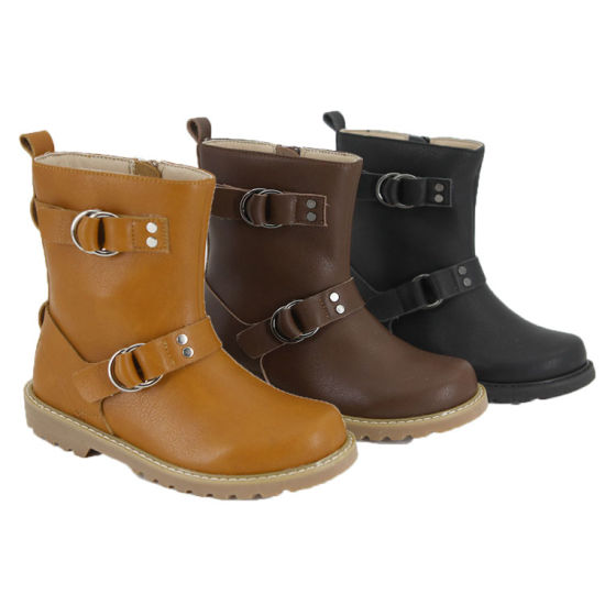 e4ca1942ab3a China Guangzhou Factory Children Girls Shoes Cow Leather Boots Black ...