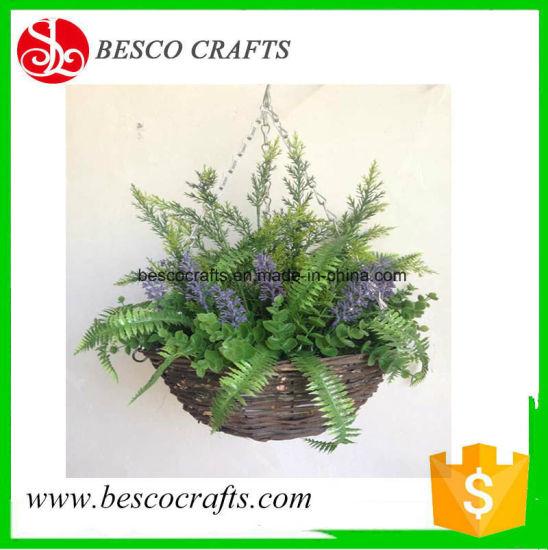 D30cm Artificial Lavender Hanging Baskets with Triple Chains