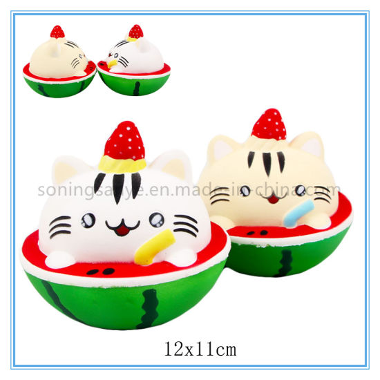 DTY0098 Watermelon Cat Squishy Toy Scented Squeeze Cat Stress Relief Slow Rising Toy