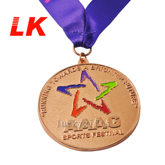 Customized Die Csating Round Antique Plating Events Medal with Lanyard