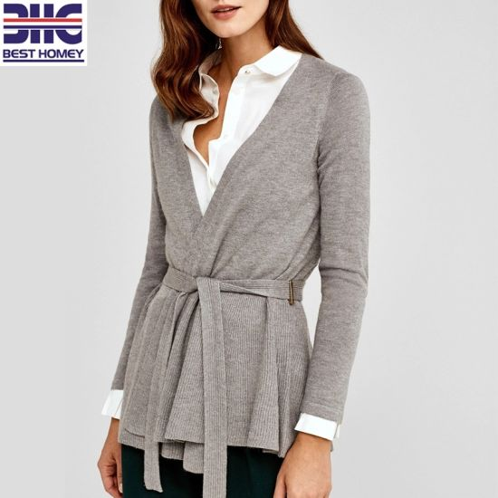 0b96643ec1 Women′s Knitted Cardigan Sweater Fashion Peplum Jackets with Belt for Ladies