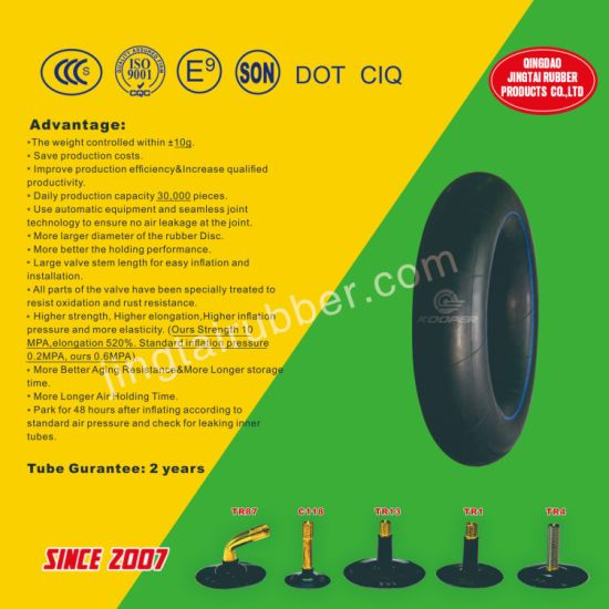 OEM 8 Inch Tr87 Valve Motorcycle Natural /Butyl Rubber Inner Tube (4.00-8) with ISO Standard