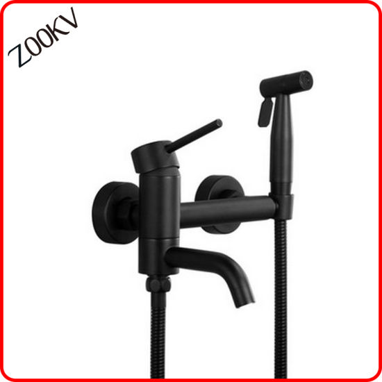 304 Stainless Steel Black Color Plating Water Tap with Adapter Shower Head Faucet Bidet Sprayer