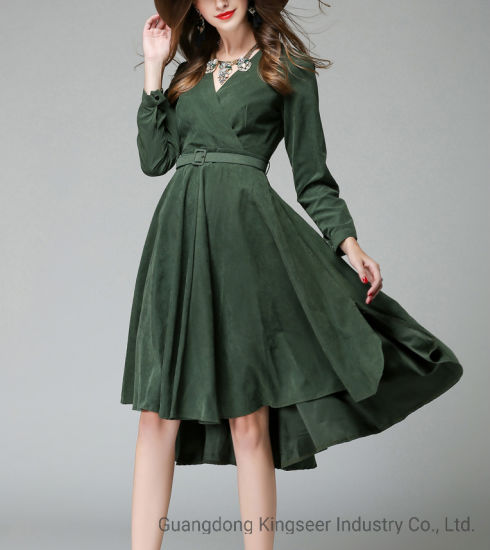 Newest Fashion New Design Cotton Casual Party Evening Clothing Clothes Wear Apparel Rose Color Women Dress