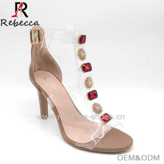 OEM Lady Sandals PVC Handmade Stilettos Heel Shoes for Wholesale