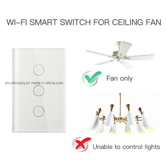 China Us WiFi Smart Ceiling Fan Switch APP Remote Timer and Speed