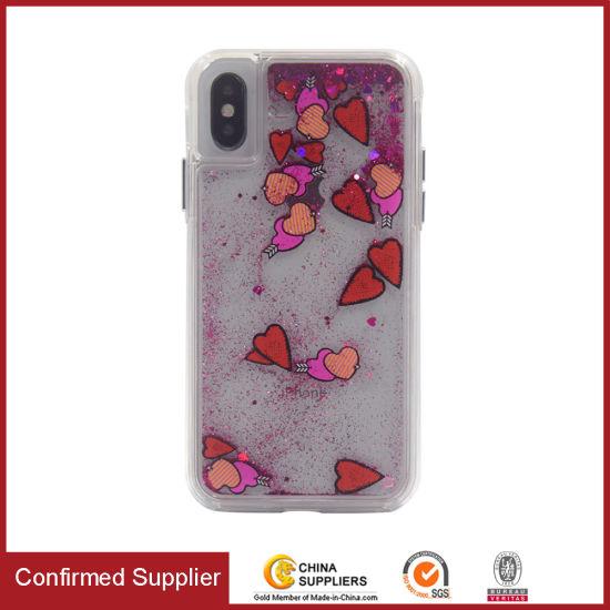 New Arrival Mobile Cover Transparent Flow Liquid Glitter Phone Case
