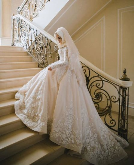 Long Sleeves Muslim Bridal Ball Gown Lace Hijab Wedding Dresses L1027 pictures & photos