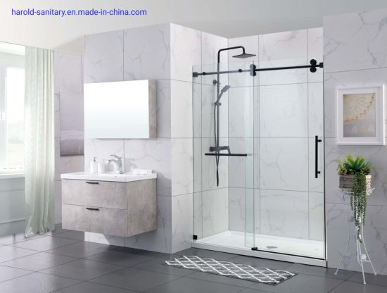 Straight Single Slider Shower Enclosure with Matt Black Double Rollers