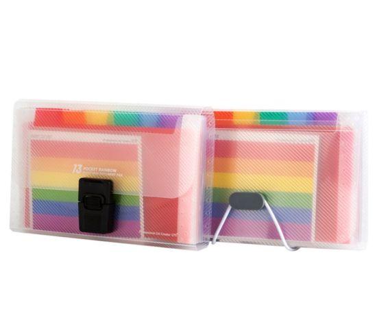 Hot Sale Rainbow Color PP Expanding File Big Capacity Expanding Wallet Folder Bag with Elastic Strap