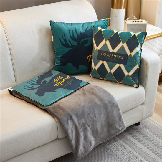 Wholesale Warm Foldable Flannel Dual Purpose Cushion Super Soft Luxury Blanket