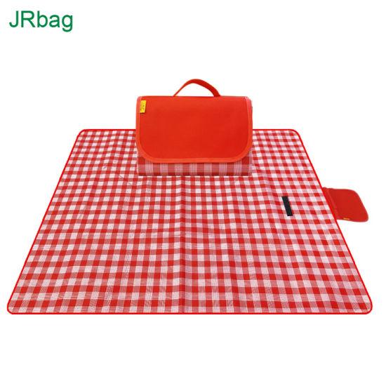 Wholesale Custom Outdoor Extra Big Large Waterproof Red Plaid Foldablebeach Picnic Blanket