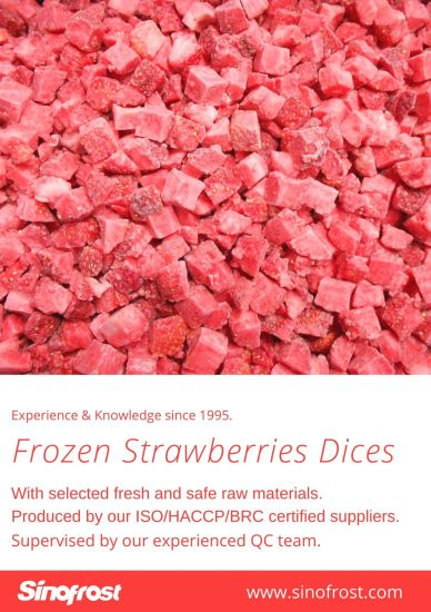 Frozen Diced Strawberries, IQF Strawberries Dices, IQF Diced Strawberries, IQF Sliced Strawberries, IQF Whole Strawberries, Frozen Strawberries Puree pictures & photos