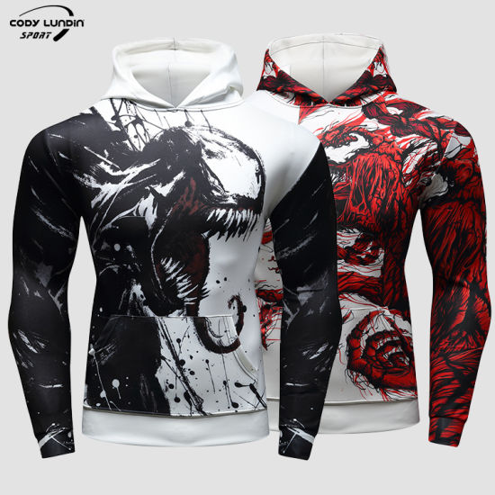 Cody Lundin China Manufacturing 93%Polyester+7%Spandex Custom Sublimation Thrasher Hoodie for Running