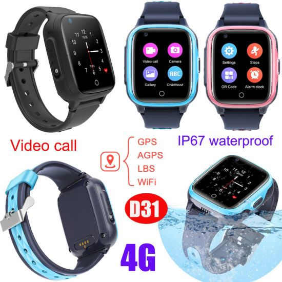 2021 4G/LTE IP67 Waterproof Child Security Kids Birthday Gift Watches Smart GPS Tracker with Global Video Call D31