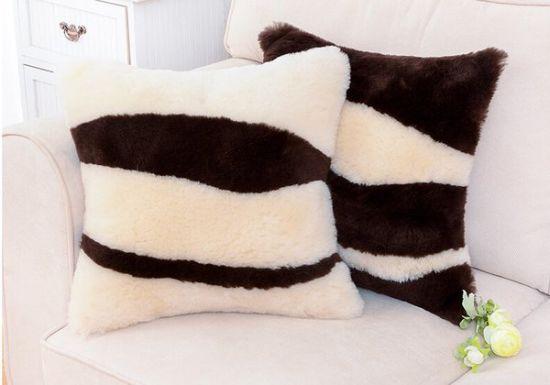 Genuine Merino Sheepskin Furry Sofa Throw Pillow