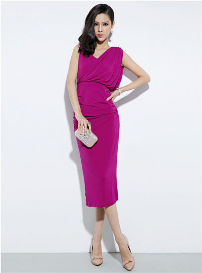 Newest Fashion Rose Color Party Women Dress pictures & photos