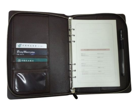 Black Zip A5 Loose Leaf Leather Organizer with Ring Binder