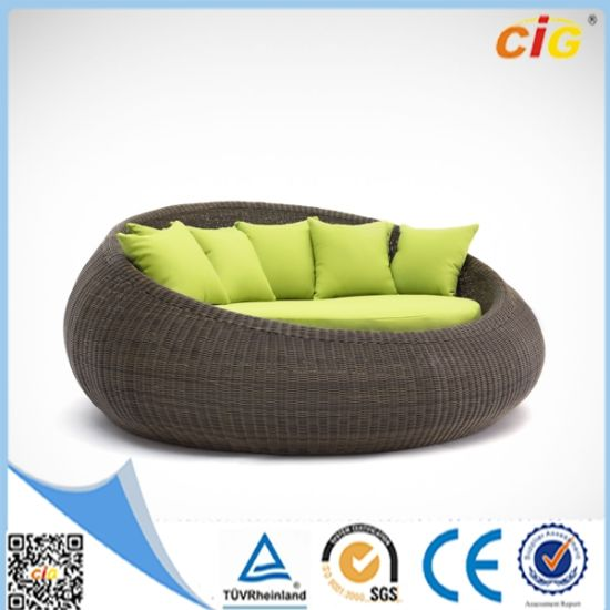 Outdoor Round Quality Rattan Day Bed Sofa Lounge pictures & photos
