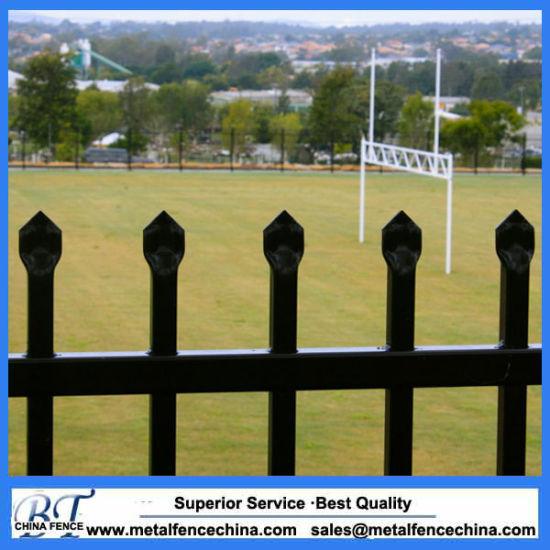 Australia Standard Black Powder Coated Spear Top Garrison Fencing