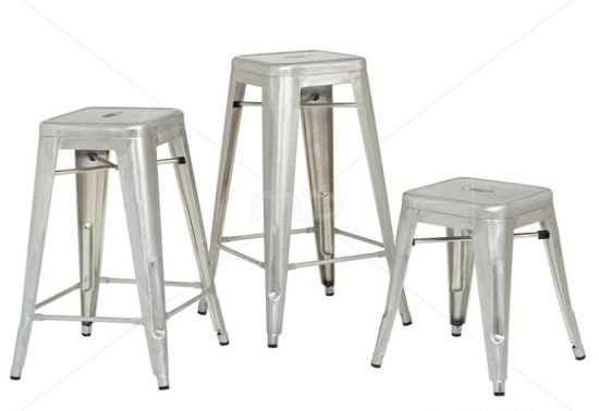 Restaurant Dining Furniture Stackable Metal Galvanized Tolix Bar Stool Fs B501 3
