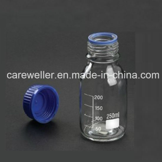 Borosilicate Transparent Glass Reagent Bottle with Blue Screw Cap pictures & photos