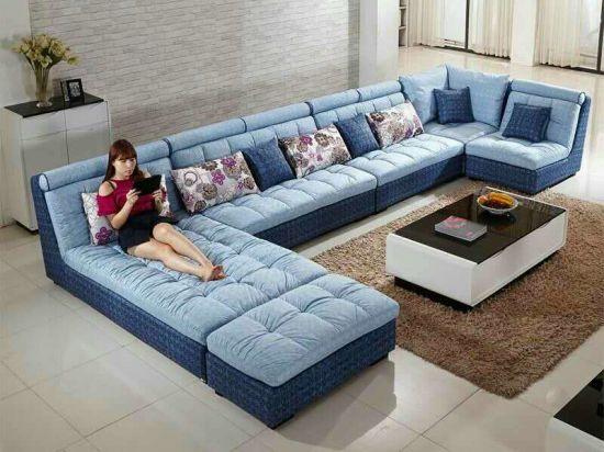 China New Style Big U Shape Fabric Sofa W11 China U Shape Sofa