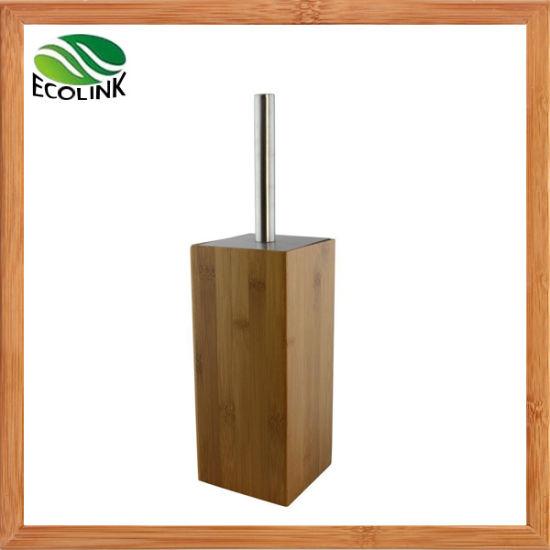 Bamboo Wooden Stainless Steel Bathroom Toilet Brush and Holder Set