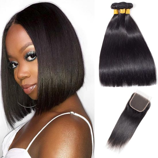 Brazilian Human Hair Straight 3 Bundles with Closure Black Color pictures & photos