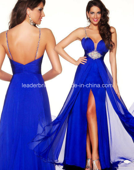 Spaghetti Evening Women Gowns Front Split Royal Blue Prom Party Dresses Z5020 pictures & photos