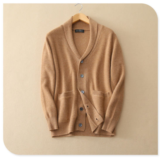 552745d71f Men′s Pure Cashmere Knitting Cardigan for Winter Thick Sweater Coat with  Insert Pocket V Neck Single Breasted