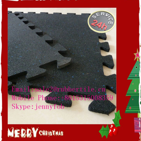 Interlocking Rubber Gym Flooring Tiles/ Puzzle Recycled Fitness Home Gym Rubber Mat pictures & photos