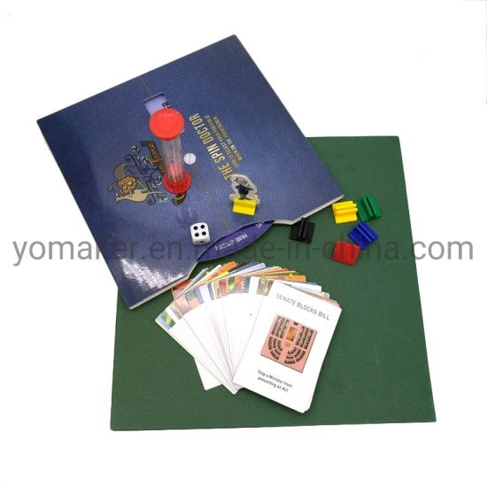 Paper Board Game Set with Spinner and Plastic Game Pieces Custom Printed