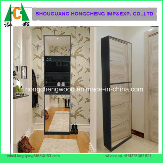 White Shoe Cabinet with 5 Layer Mirror Rack Storage Drawers Hallway Bedroom Cupboard pictures & photos