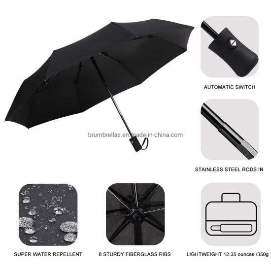 Folding Umbrella Rainproof /& Windprrof Umbrella Black and White Custom Umbrella Automatic