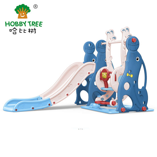 New Sea Lion Kids Indoor Plastic Slide and Swing Set for Toddler pictures & photos