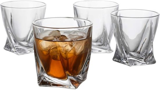 Popular Swirl Whiskey Glasses 10 Oz - Premium Glass Tumblers Glass Cups with Unique Design for Whiskey Cocktails Cola Cooler