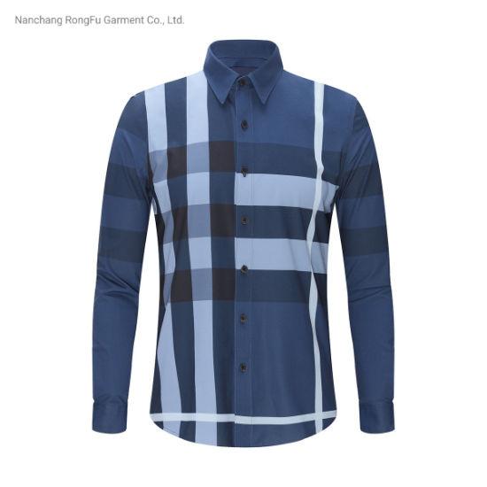 Contrast Color Business Casual Fashion Simple Long Sleeve Plaid Shirt