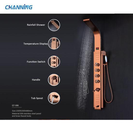 Channing Large Best Rose Gold Adjustable Shower Head Muti-Function Shower Column with LED Temperature Display Crystal Fuction Switch (QT-086)