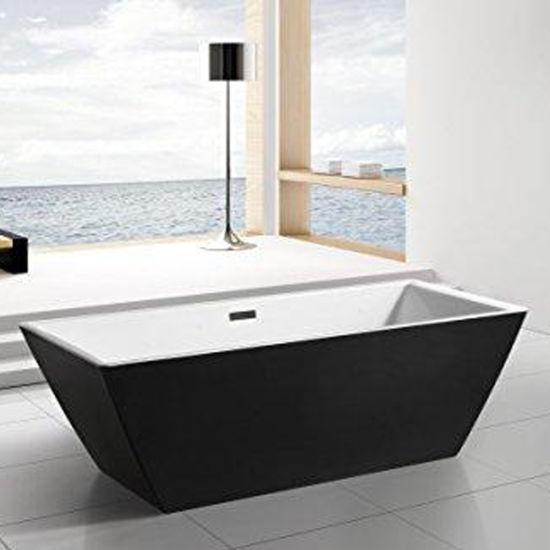 Small Black Acrylic Freestanding Bath Tub Bathtub with Shower